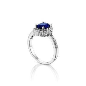 טבעת אירוסין זהב לבן מעוצבת יוקרתית Hadasah