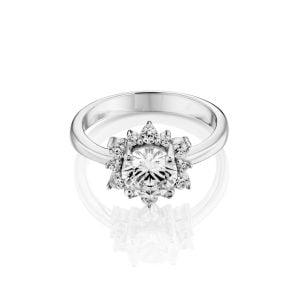 טבעת אירוסין יוקרתית זהב לבן Rachel