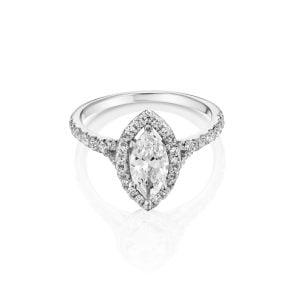 טבעת אירוסין זהב לבן יהלום 1 קראט יוקרתית Ester