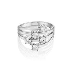 טבעת אירוסין יוקרתית זהב לבן משובצת יהלומים Vanessa