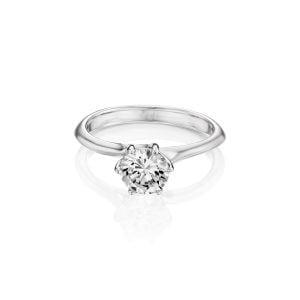 טבעת אירוסין זהב לבן יוקרתית וקלאסית Paris