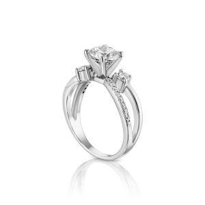 טבעת אירוסין סוליטר זהב לבן יוקרתית Gianna