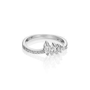 טבעת אירוסין משובצת יהלומים זהב לבן Annabelle