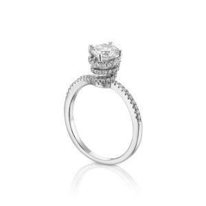 טבעת אירוסין 1 קרט סוליטר זהב לבן יוקרתית Cecilia