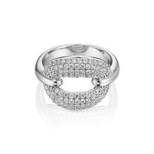 טבעת אירוסין יוקרתית זהב לבן 1 קראט Alexandra