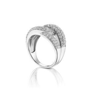 טבעת אירוסין זהב לבן יוקרתית קלאסית Nevaeh