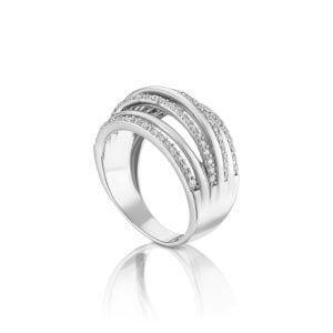 טבעת אירוסין זהב לבן יוקרתית עדינה ומעוצבת Delilah