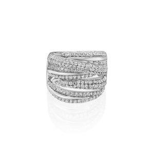 טבעת אירוסין עדינה מיוחדת מעוצבת זהב לבן Vivian