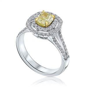 טבעת אירוסין זהב לבן agam משולבת fancy yellow