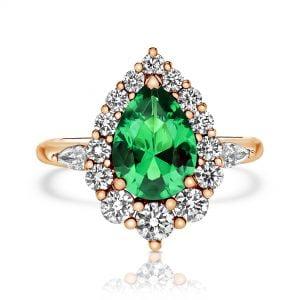 טבעת יהלומים עם אבן חן מעוצבת יוקרתית Penelope פנלופה