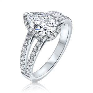 טבעת אירוסין זהב לבן יהלום טיפה 1 קראט יוקרתית Riley ריילי