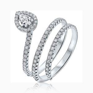 טבעת אירוסין זהב לבן יהלום טיפה 1 קראט יוקרתית Lillian ליליאן