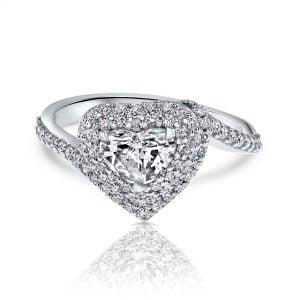 טבעת אירוסין בצורת לב זהב לבן ויהלומים יוקרתית ayala