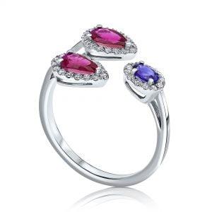 טבעת יהלומים ואבני חן