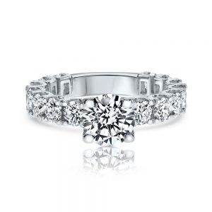 טבעת אירוסין איטרניטי מעוצבת יוקרתית עם שורת יהלומים זהב לבן Addison אדיסון
