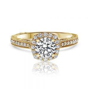טבעת אירוסין 1 קארט זהב צהוב יוקרתית Luna לונה